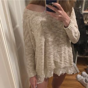 Abercrombie & Fitch Oversized Lace Bottom Sweater